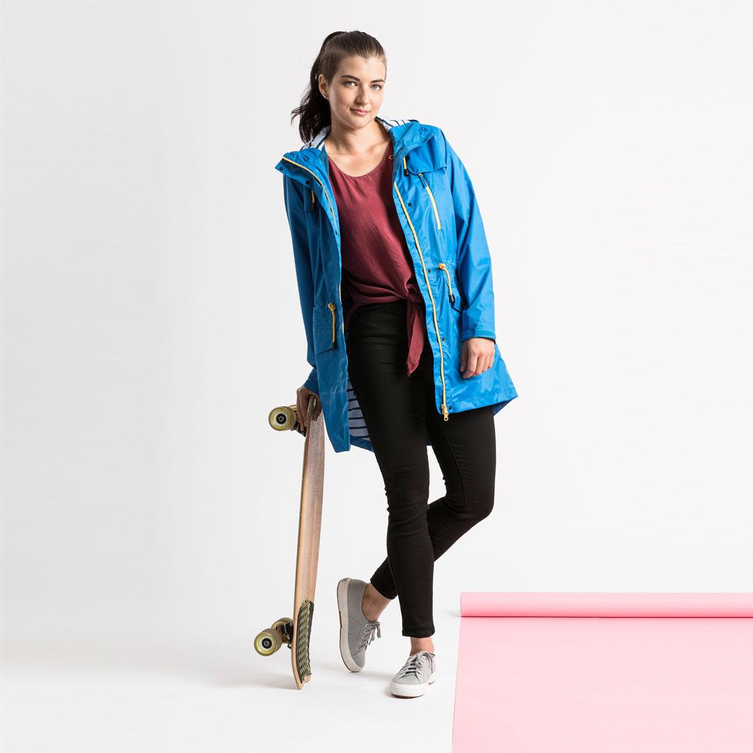 womens blue long raincoat australia