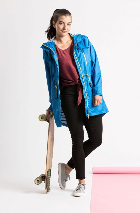 womens longer length blue raincaot